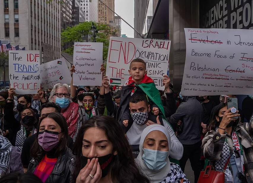تظاهرات همبستگی با مردم فلسطین در لندن و شهرهای آمریکا